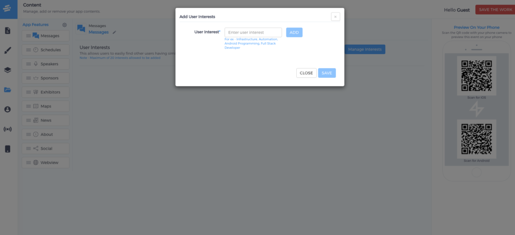 Tag-based networking on Eventify